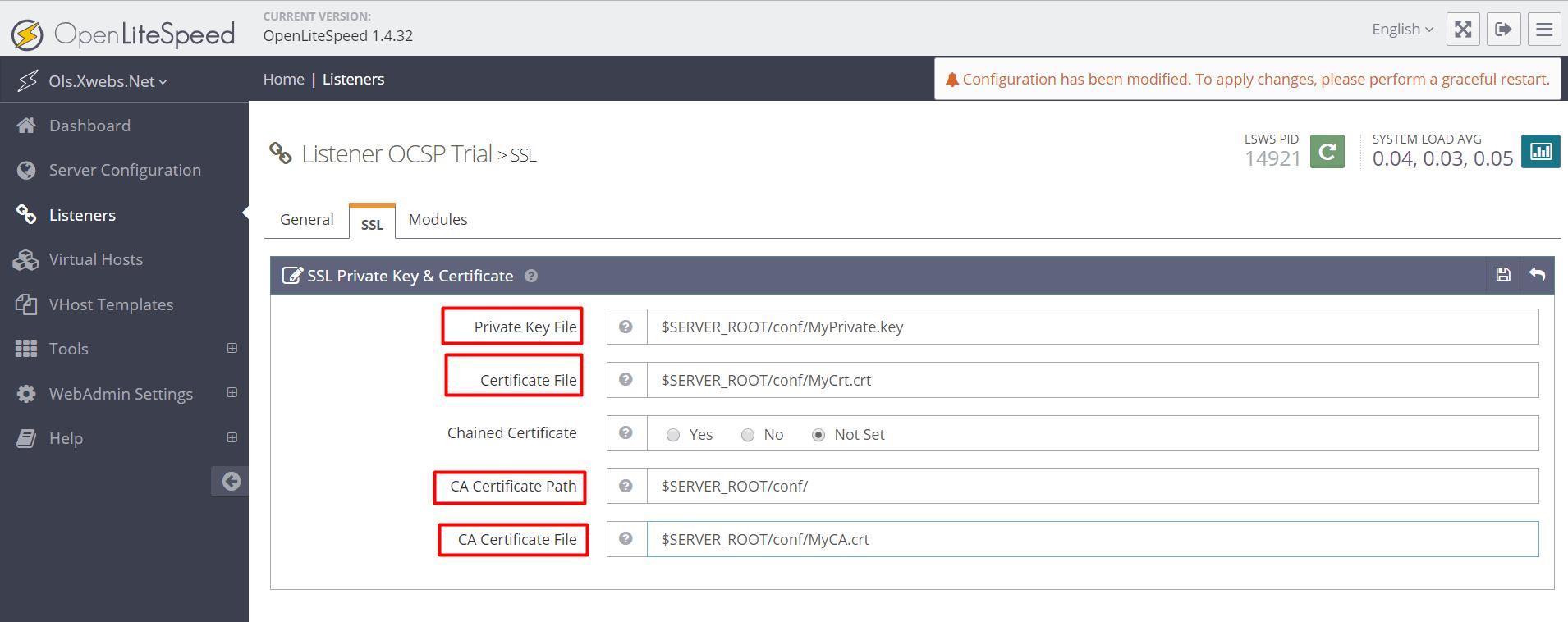 Setting up OCSP Stapling with OpenLiteSpeed • OpenLiteSpeed