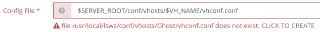 ghost vhost create